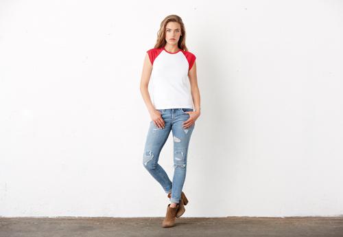 Cap sleeve raglan t-shirt