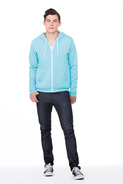 Unisex zip-up fleece hoodie