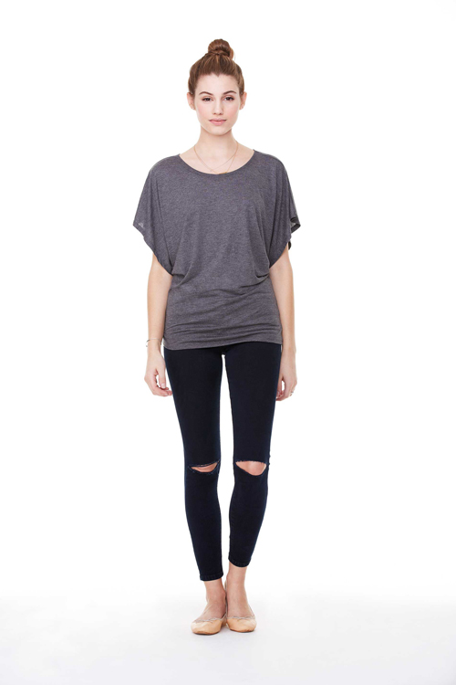 Flowy draped sleeve dolman tee