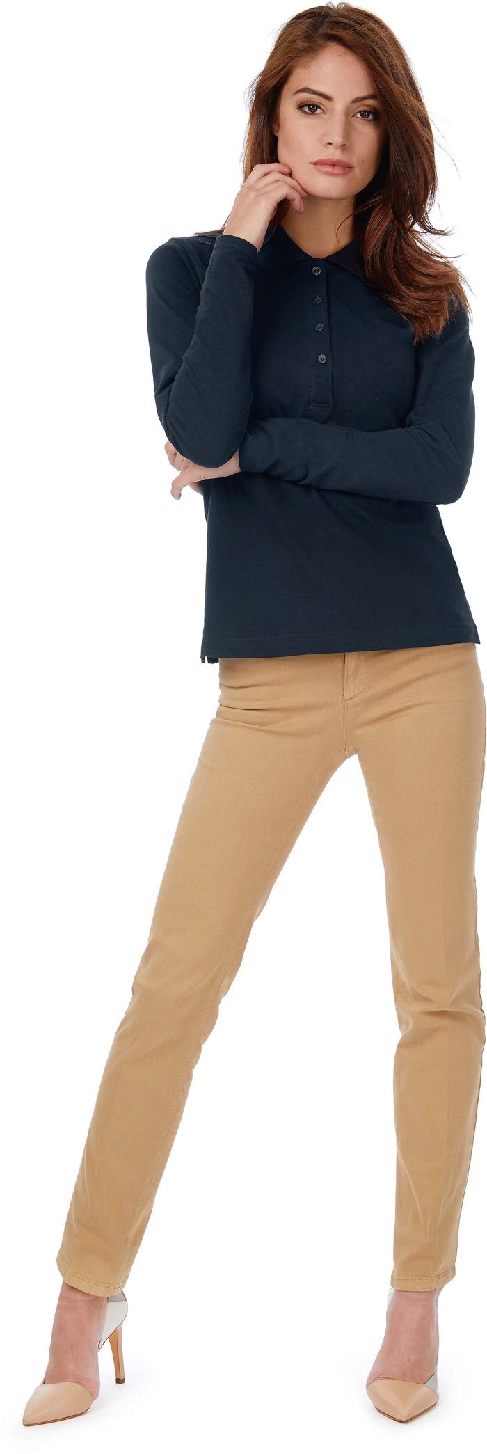 Polo femme safran manches longues - CGPW456