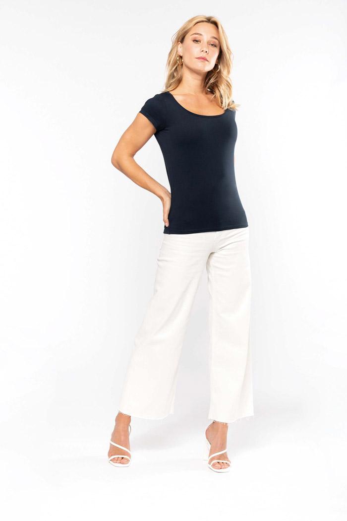 T-shirt col bateau manches courtes femme - K384