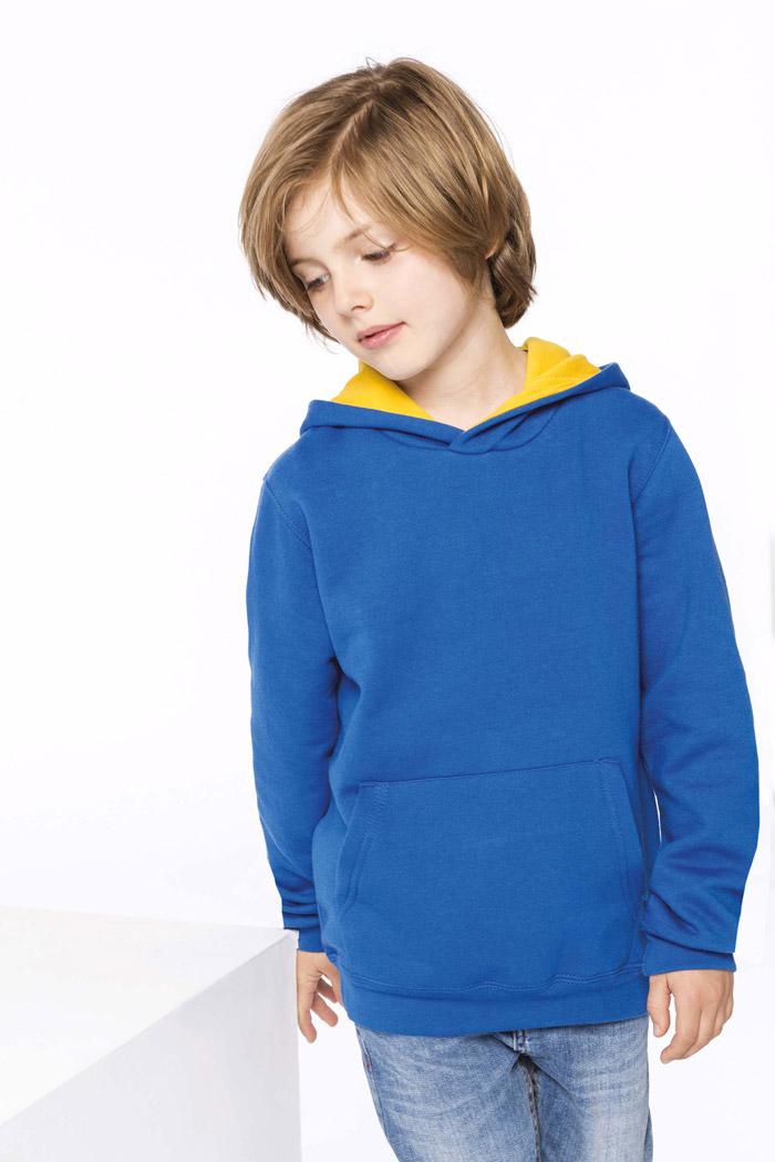 Sweat-shirt capuche contrastée enfant - K453