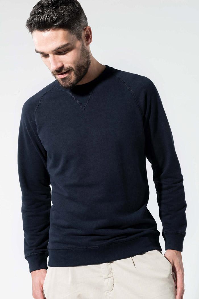 Sweat-shirt bio col rond manches raglan homme - K480