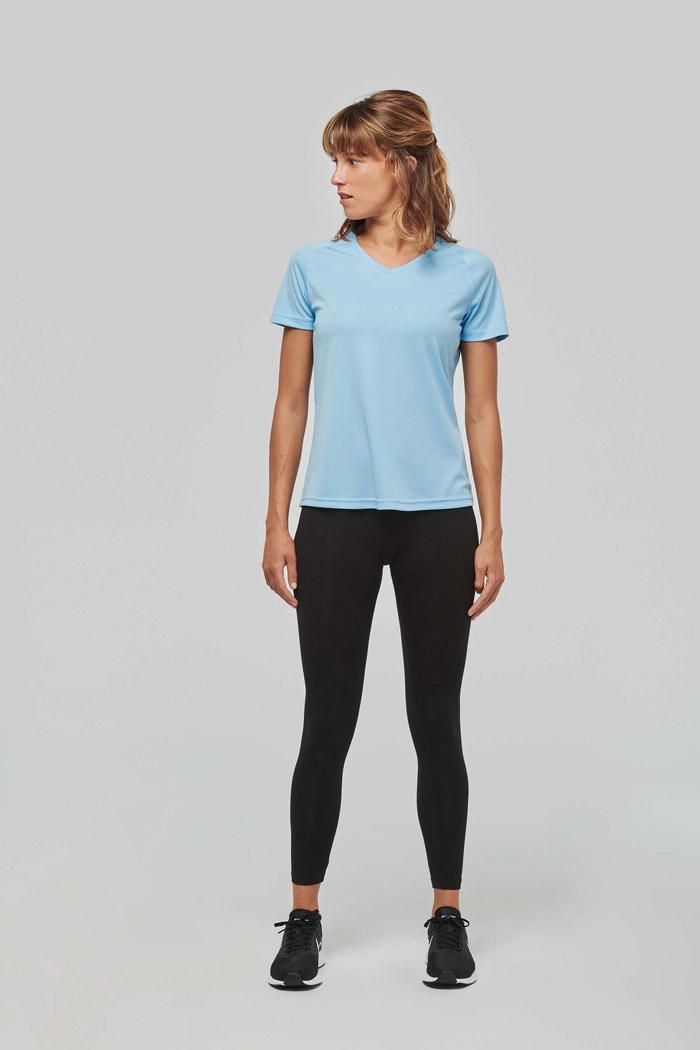 T-shirt de sport manches courtes col v femme - PA477