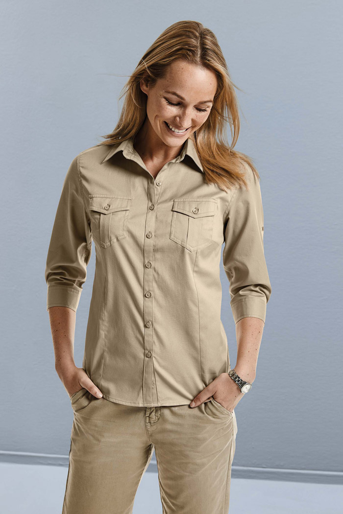 Chemise femme manches 3/4 twill roll-up - RU918F