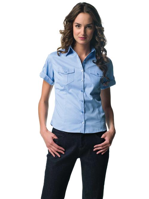 Ladies roll up twill shirt - chemise femme manches courtes avec patte de reglage sur la manche