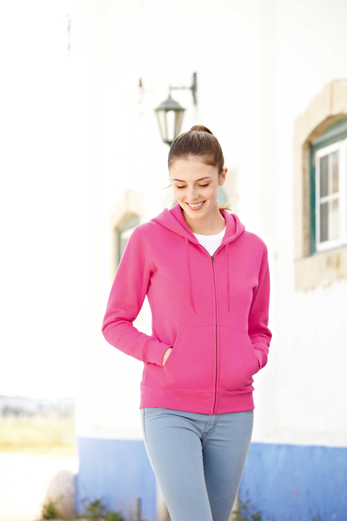 Lady fit zip hooded sweat (62-118-0)