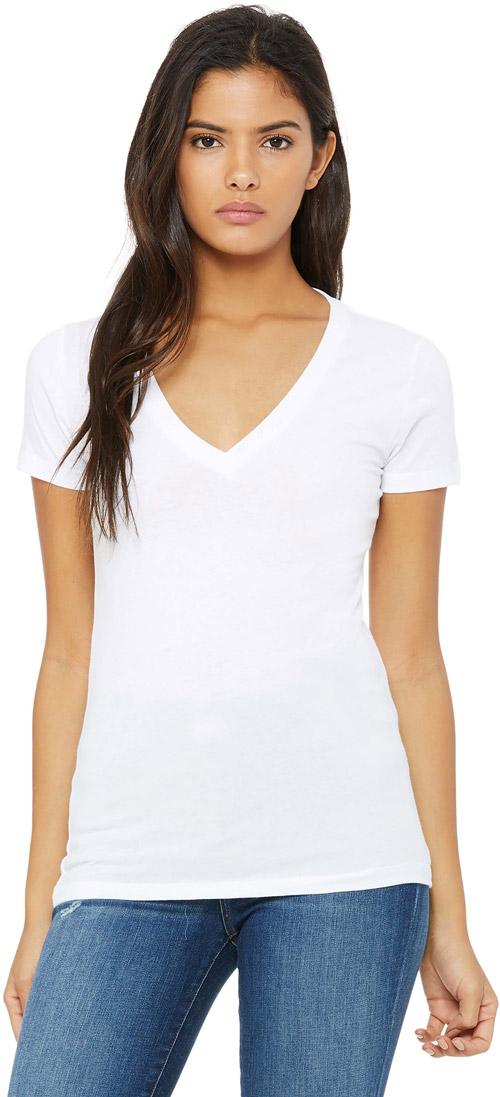 T-shirt femme col v profond