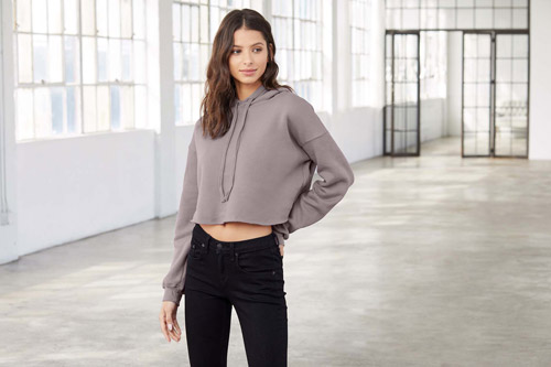 Sweat-shirt crop à capuche femme