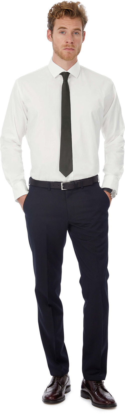 Chemise stretch homme manches longues black tie