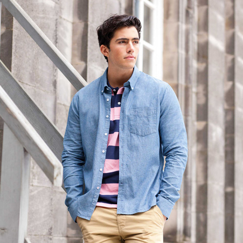 Classic chambray shirt-chemise chambray