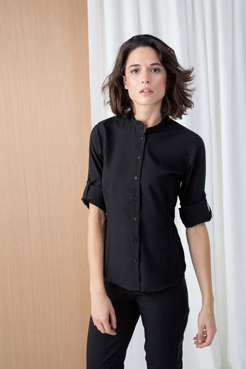 Chemise femme col mao
