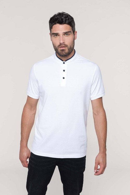 Polo col mao manches courtes homme