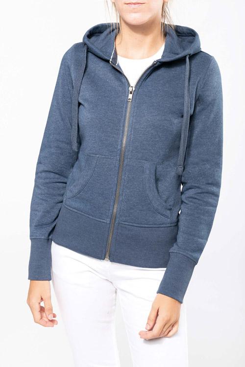Sweat-shirt zippé capuche ''mélange'' femme
