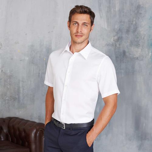 Chemise ajustée manches courtes sans repassage