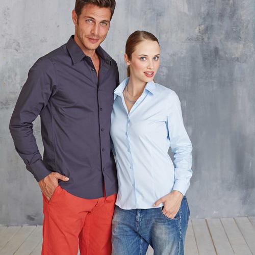 Chemise manches longues coton/élasthanne femme