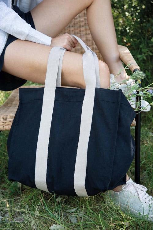 Grand sac shopping à soufflet recyclé