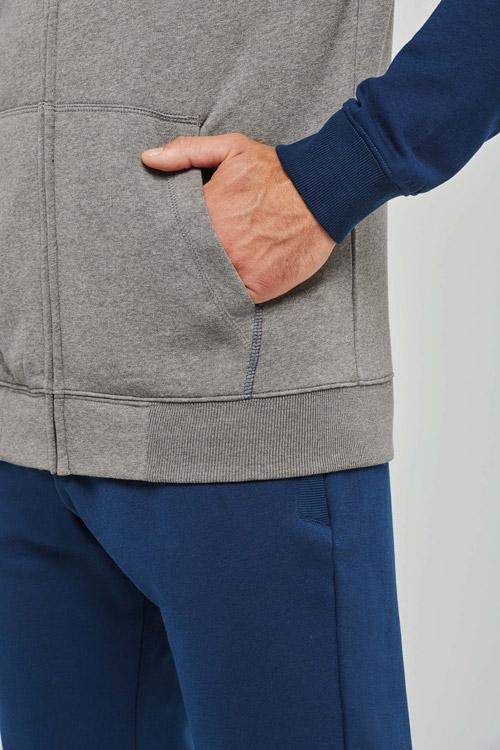 Veste molleton zippée capuche bicolore unisexe