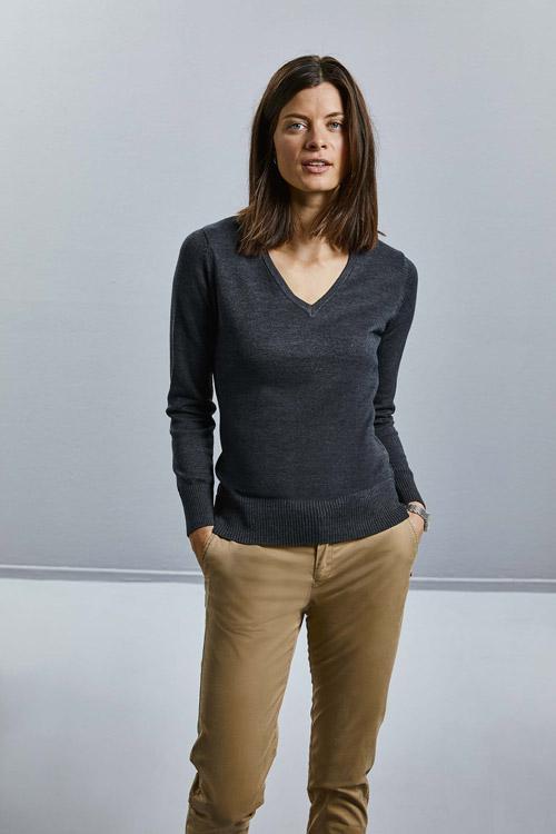 Pullover femme col v