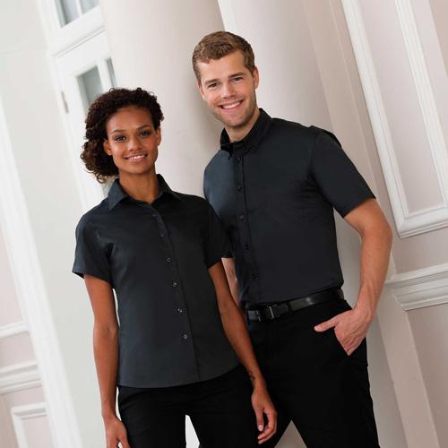 Twill ladies shirt - chemise manches courtes en coton sergé pour femme