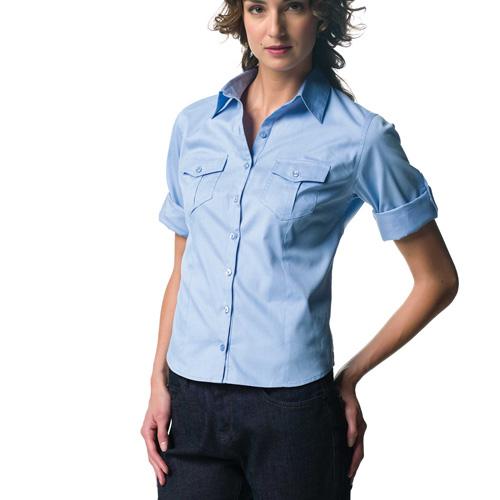 Ladies roll up twill shirt - chemise femme manches 3/4 avec patte de réglage sur la manche