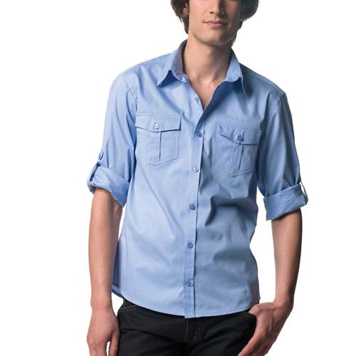 Roll up twill shirt - chemise homme manches longues avec patte de réglage sur la manche