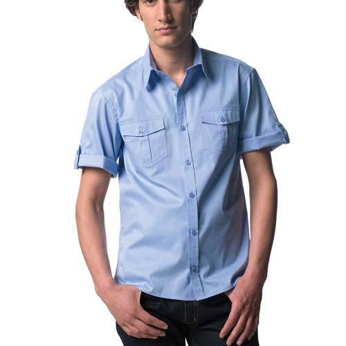 Roll up twill shirt - chemise homme manches courtes avec patte de réglage sur la manche