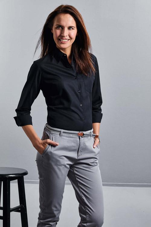 Chemise femme popeline pur coton manches longues