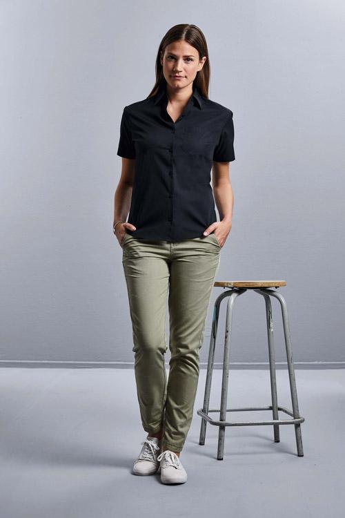 Chemise femme popeline pur coton manches courtes