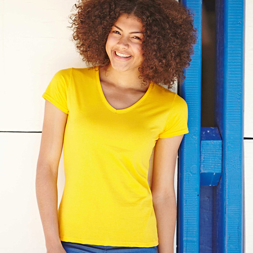 Lady fit value-weight v neck (61-398-0)