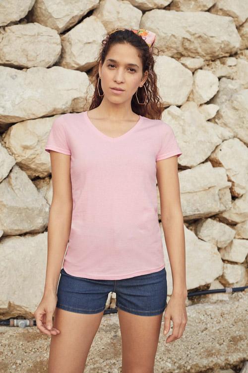 T-shirt femme col v valueweight (61-398-0)